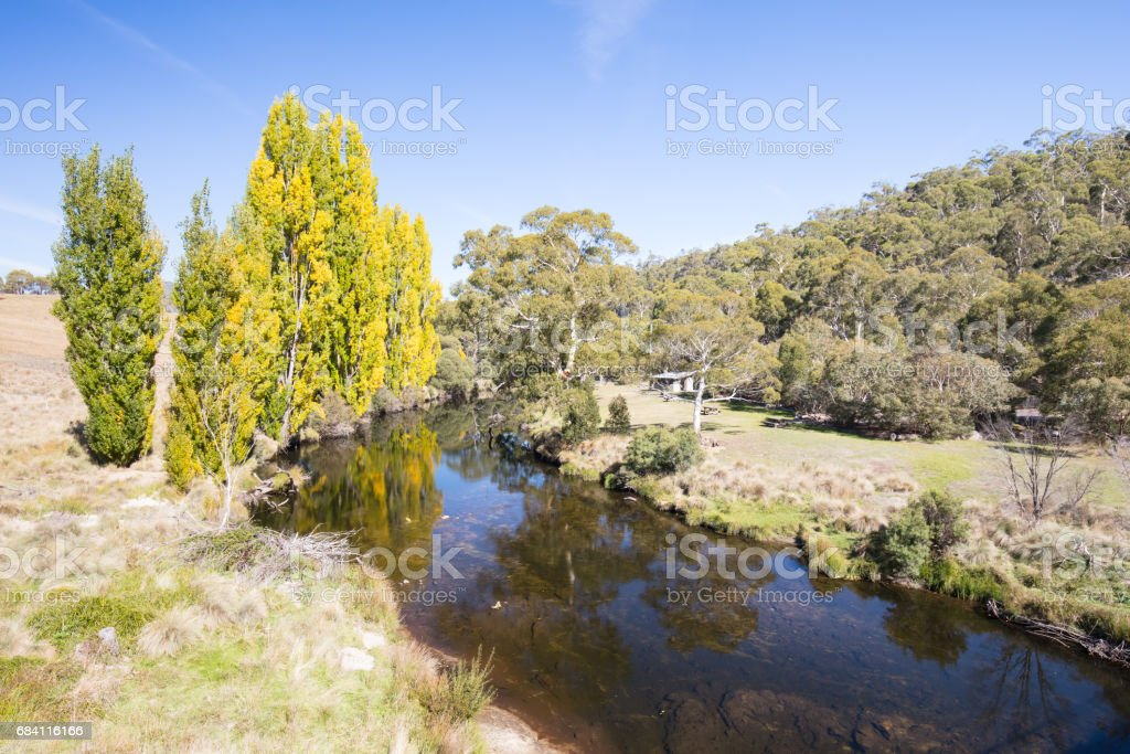 Thredbo River in Autumn stock photo