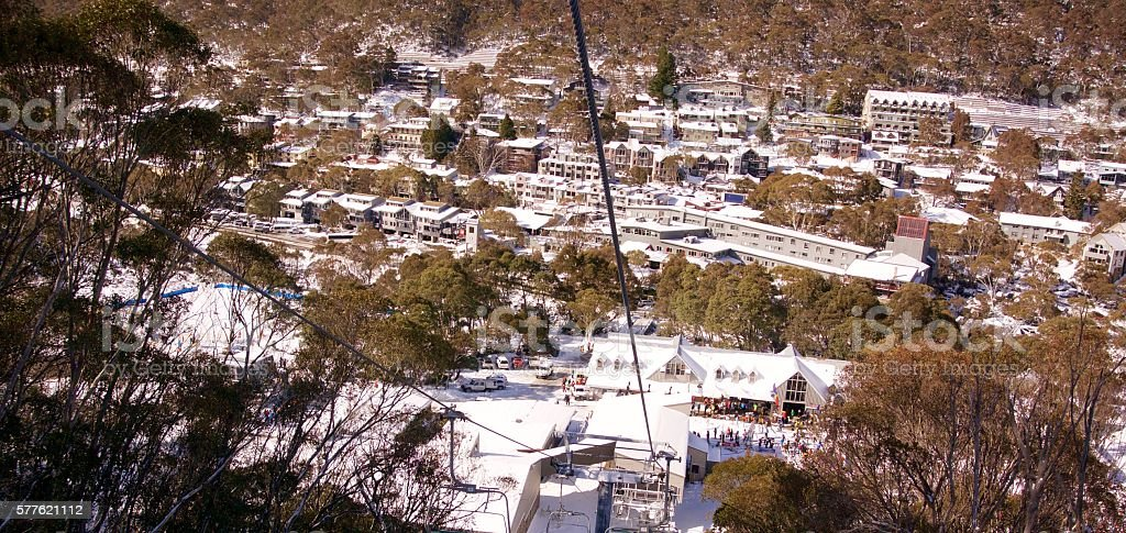 Thredbo village in snow stock photo