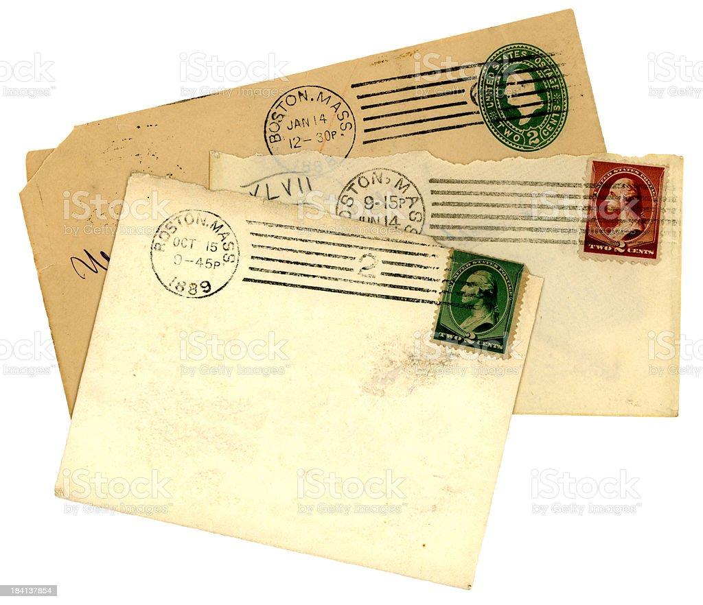 Three 1890s envelopes from Boston, Massachusetts stock photo