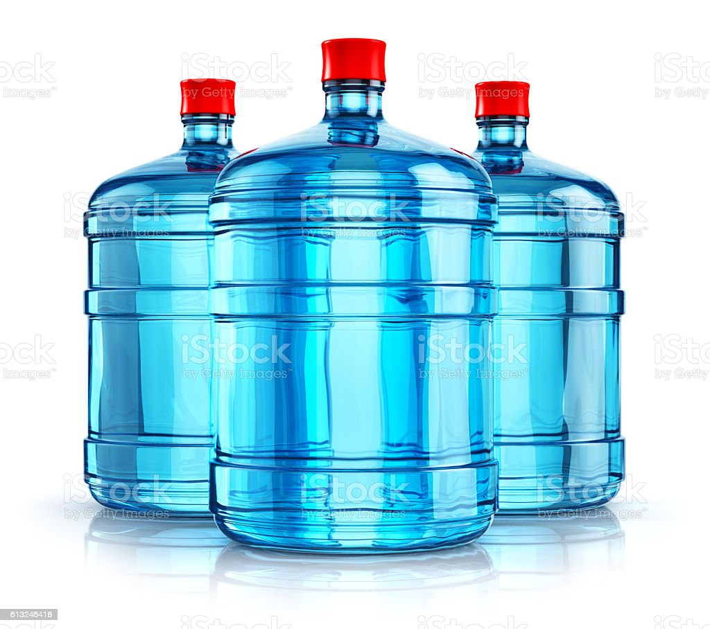 Three 19 liter or 5 gallon plastic drink water bottles stock photo