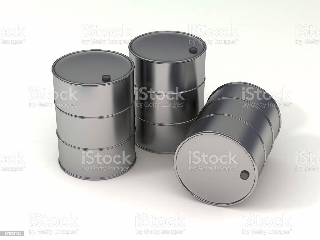 Three 3D barrel royalty-free stock photo