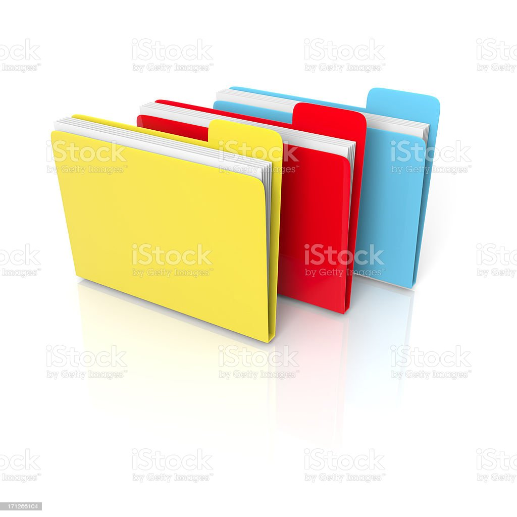 three 3d folders and files stock photo