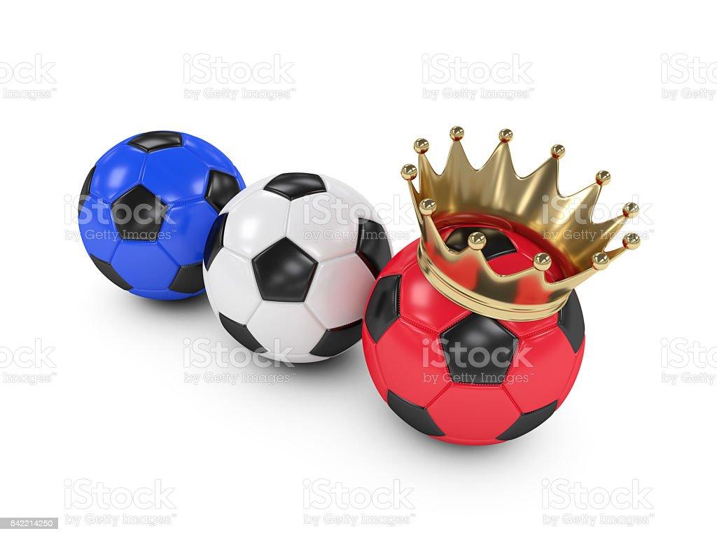 three 3d rendered football balls stock photo