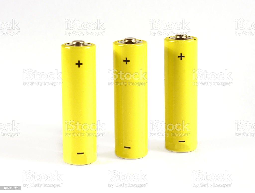 Three AA batteries royalty-free stock photo