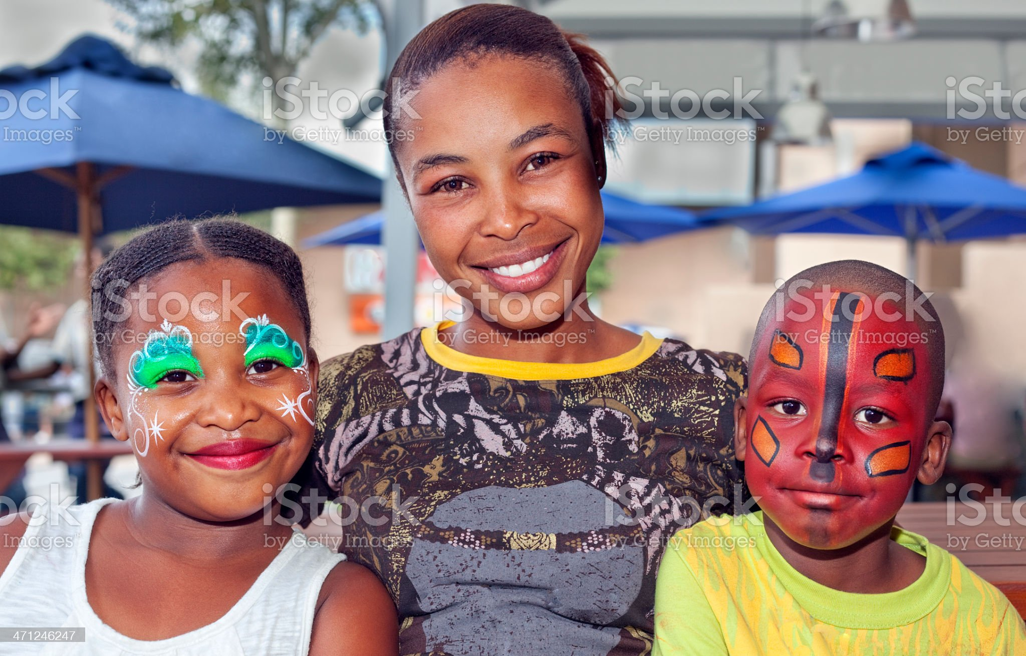 Three African Children with Face Paint royalty-free stock photo