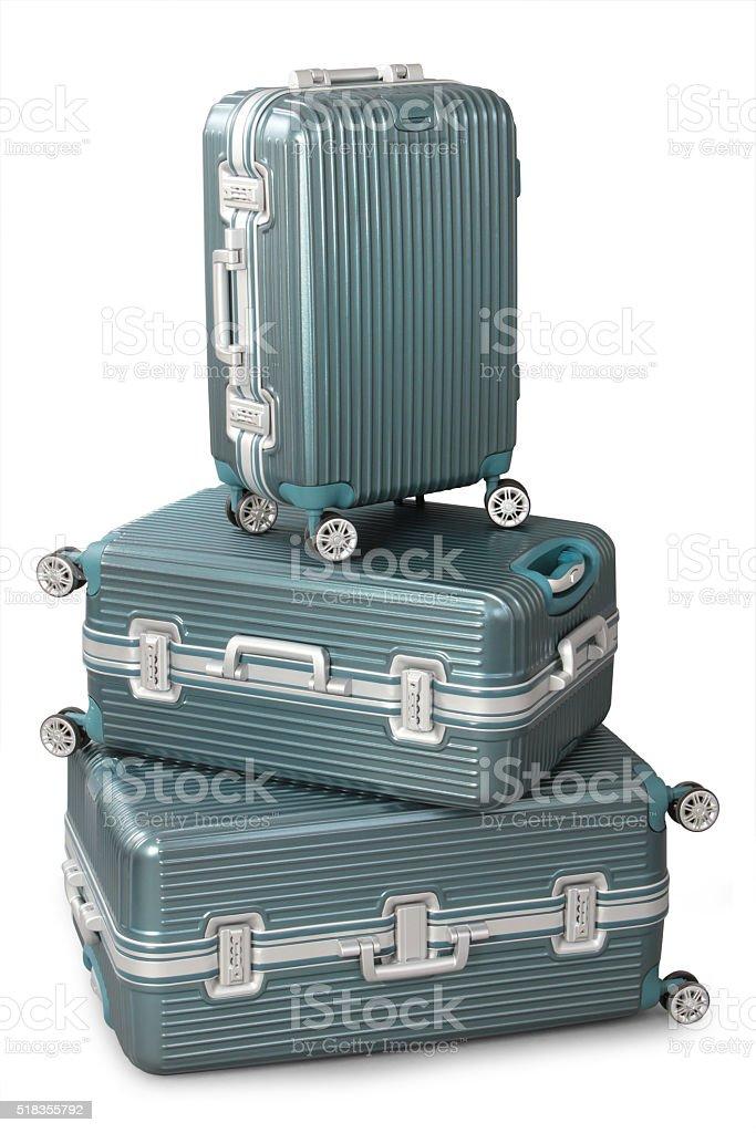 three aluminium suitcase stock photo