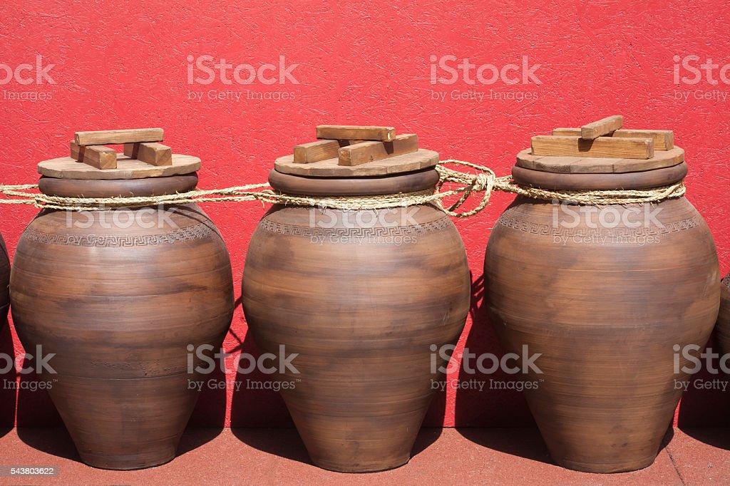 Three amphoras, traditional classic roman culture festival. stock photo