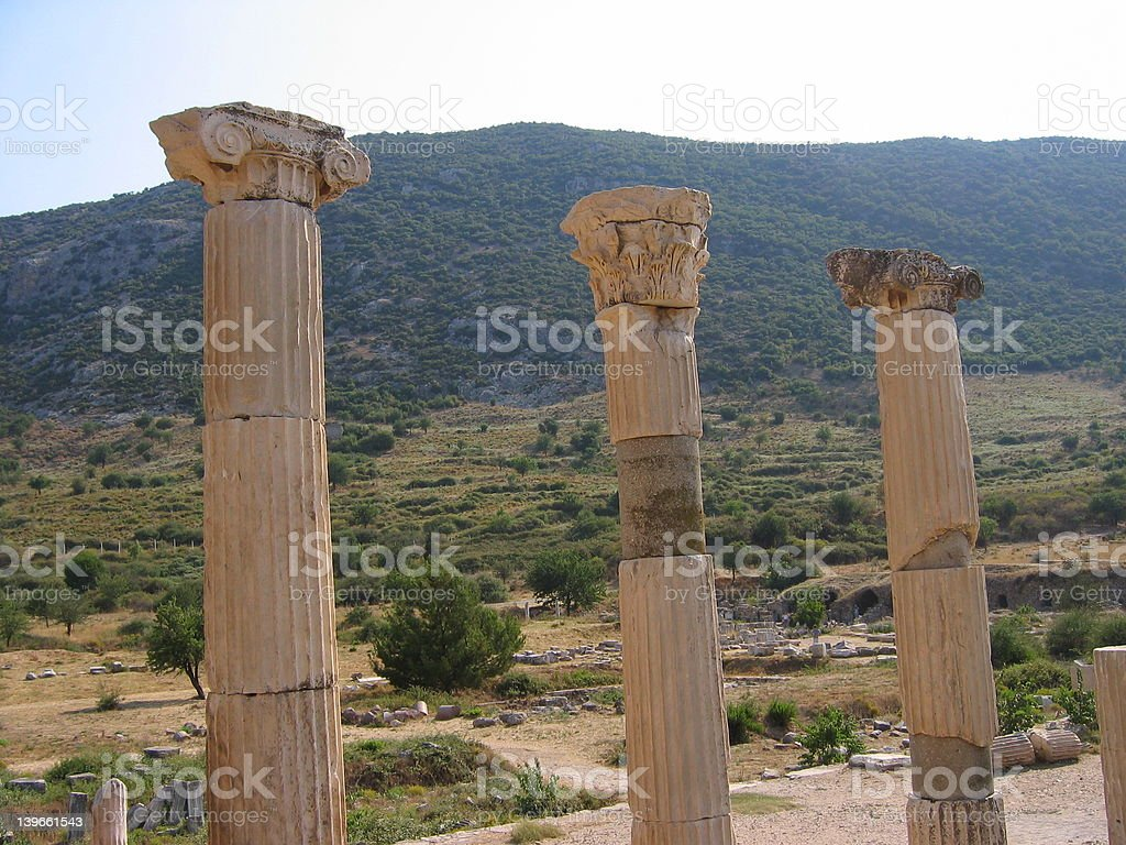 Three ancient pillars royalty-free stock photo