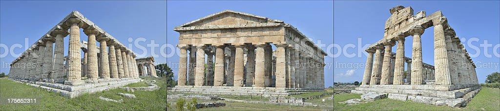 Three ancient temples at Paestum stock photo