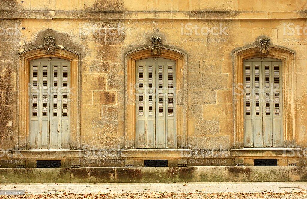 Three ancient windows royalty-free stock photo