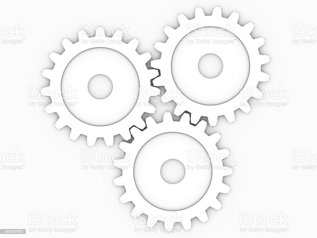 Three animated cartoon white gears connected turning stock photo