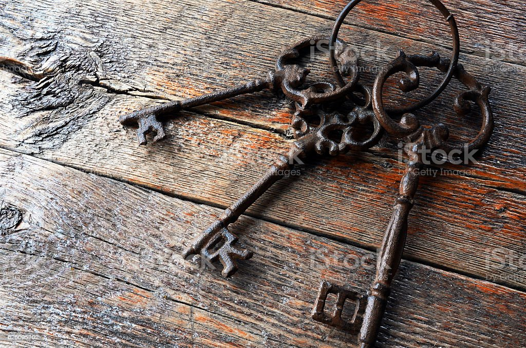 Three Antique Keys stock photo