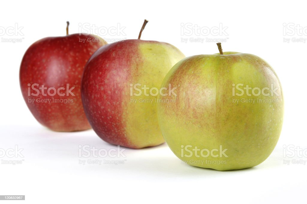 Three Apples From Green to Red royalty-free stock photo