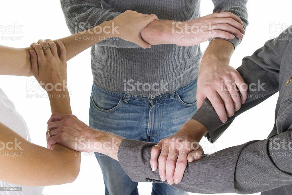 Three Arms Interlocked royalty-free stock photo