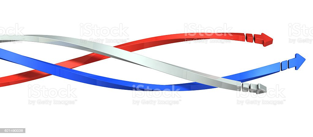 Three arrows move forward while entangled in a spiral. stock photo