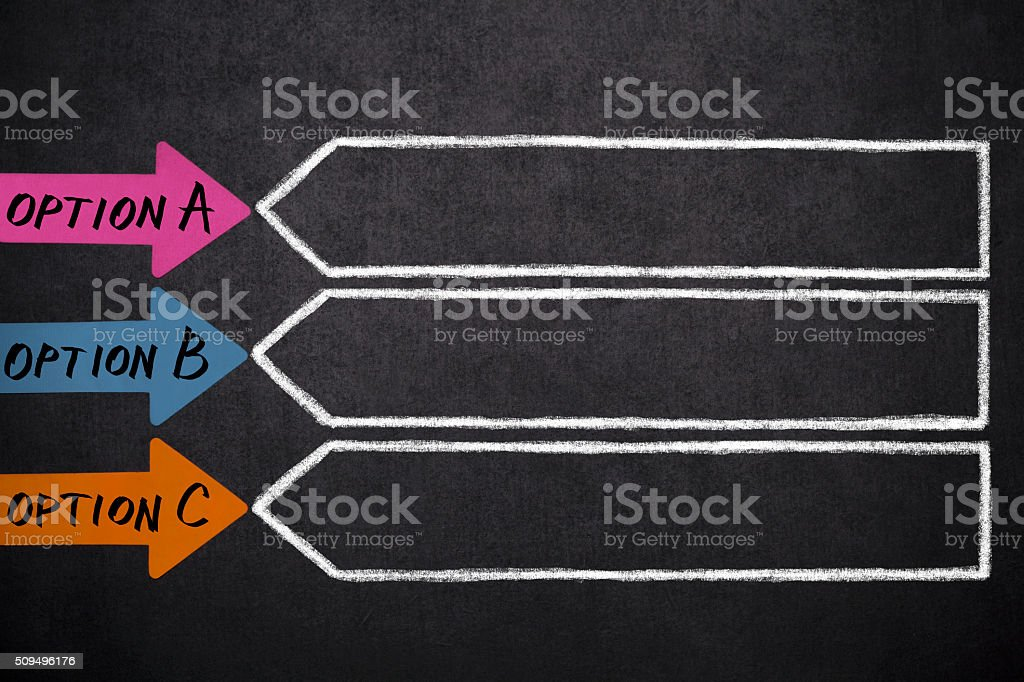 Three  arrows with place for your content stock photo