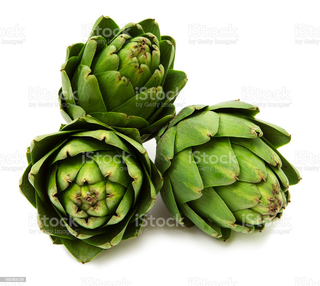 Three artichokes stock photo