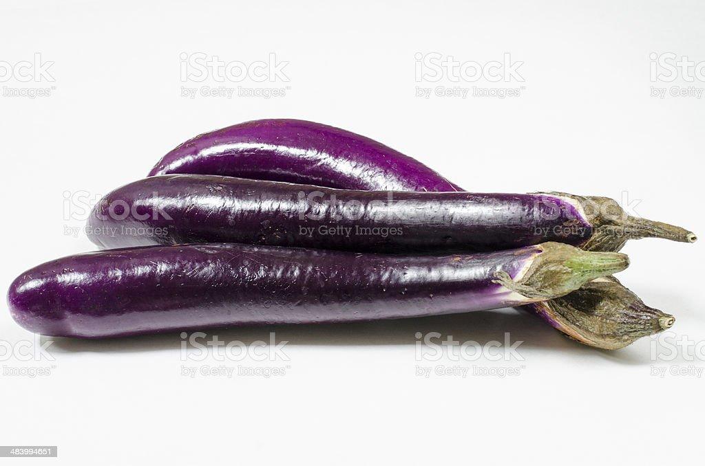 Three Asian Eggplants stock photo