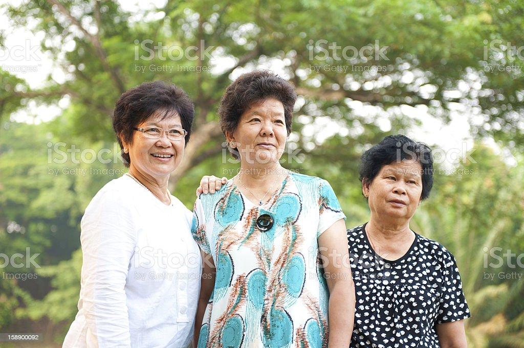 Three Asian senior women royalty-free stock photo
