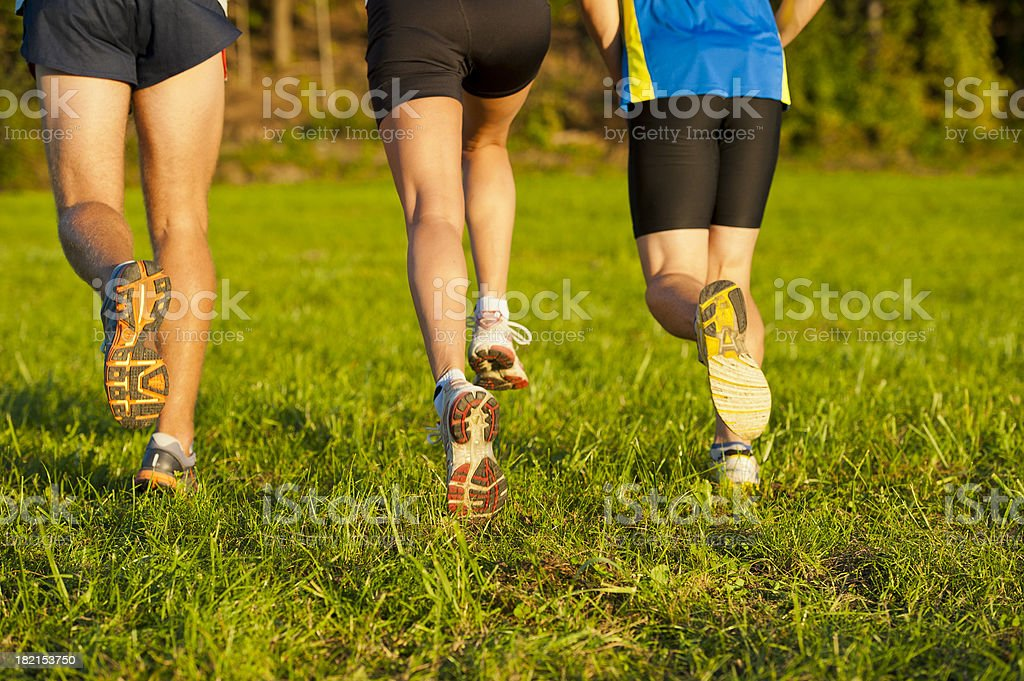 Three athletes running on the meadow royalty-free stock photo