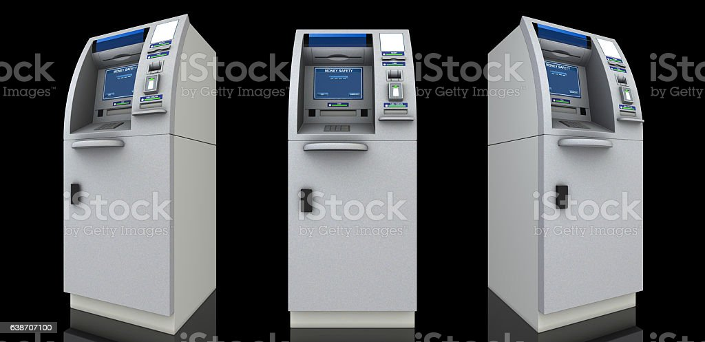 Three atm machines stock photo