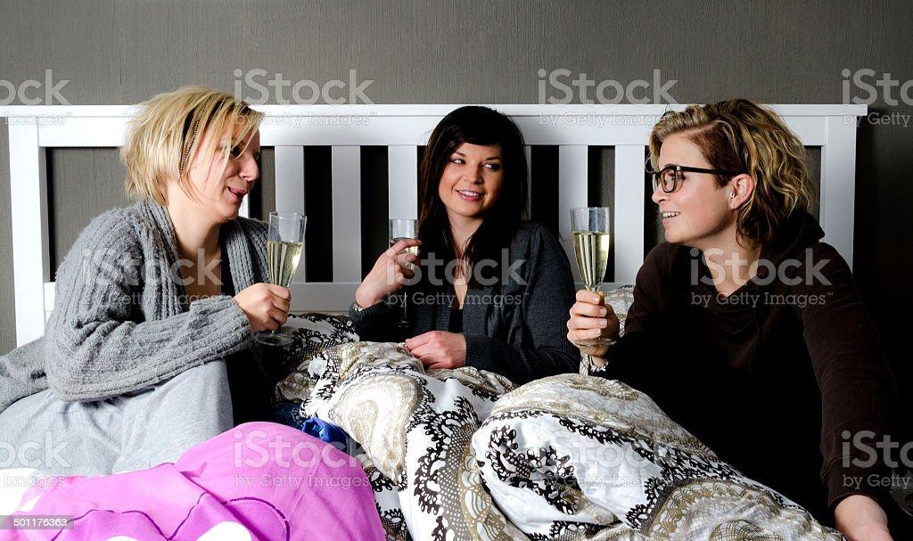 Three attractive girls stock photo