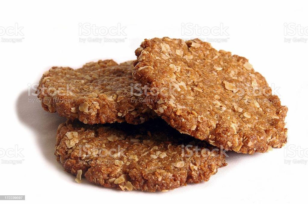 Three Australian Anzac Biscuits stock photo
