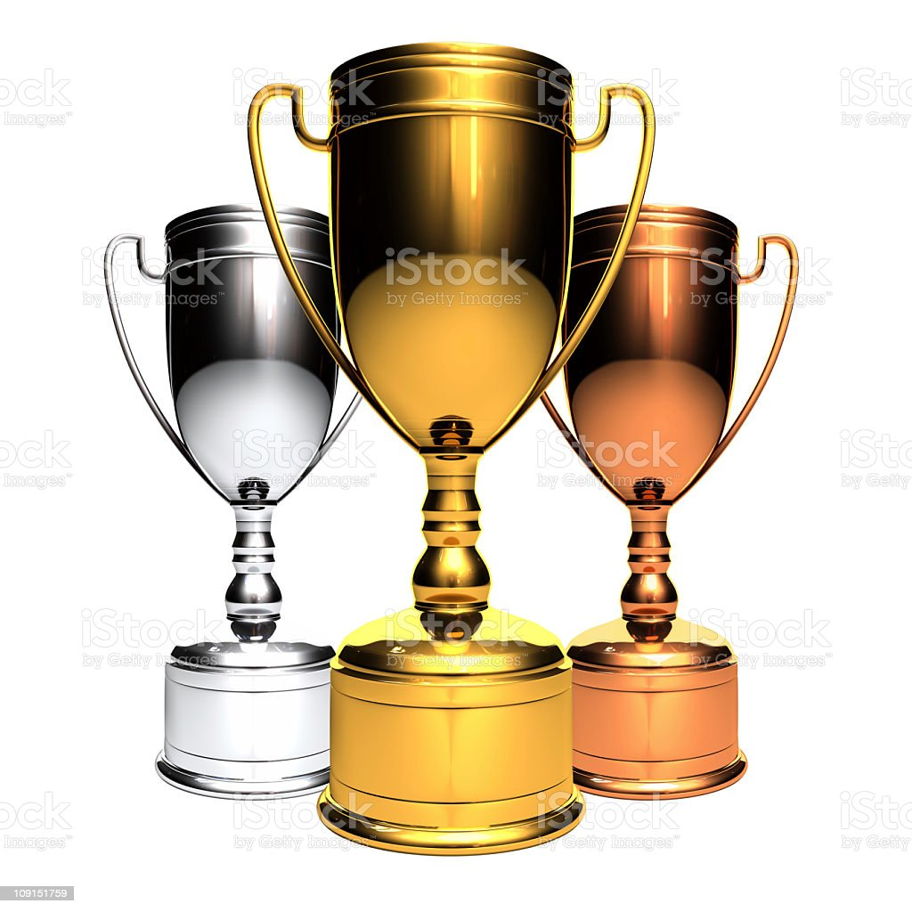 Three awards stock photo