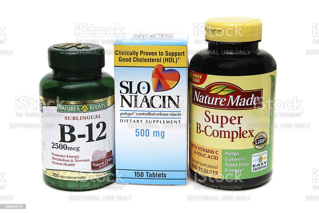 Three B vitamin supplements stock photo