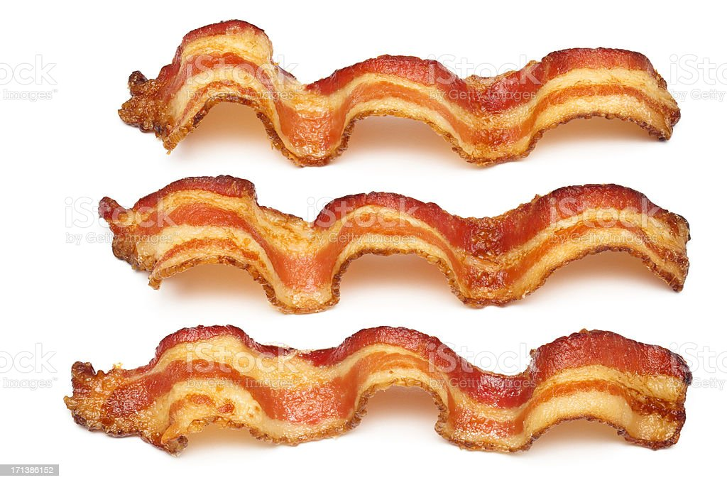 Three bacon slices on white background stock photo