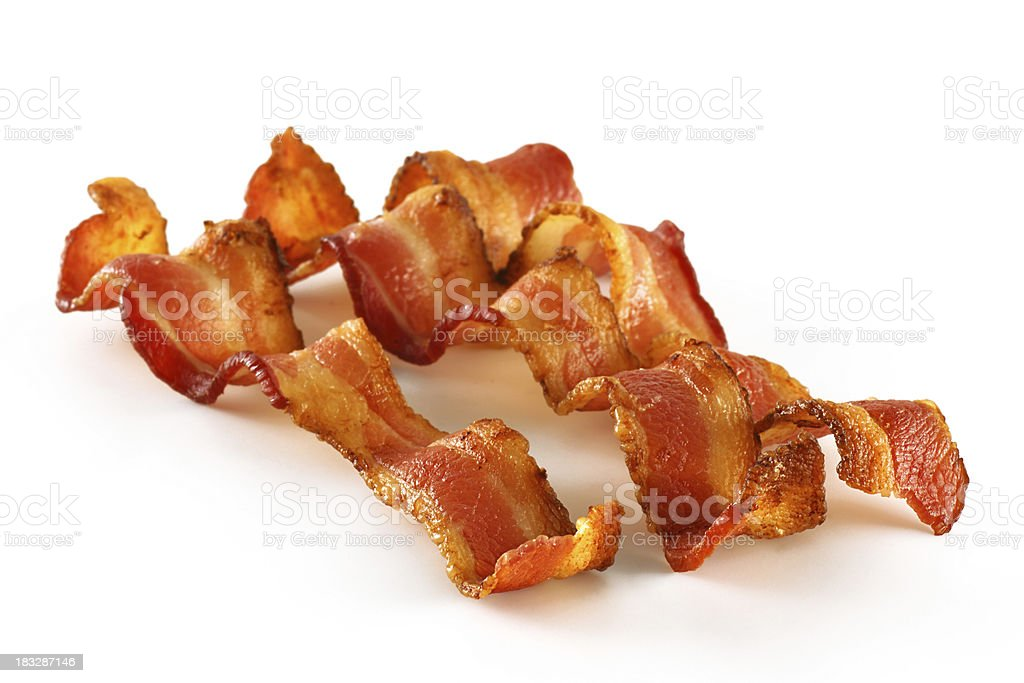 Three Bacon Slices on White royalty-free stock photo