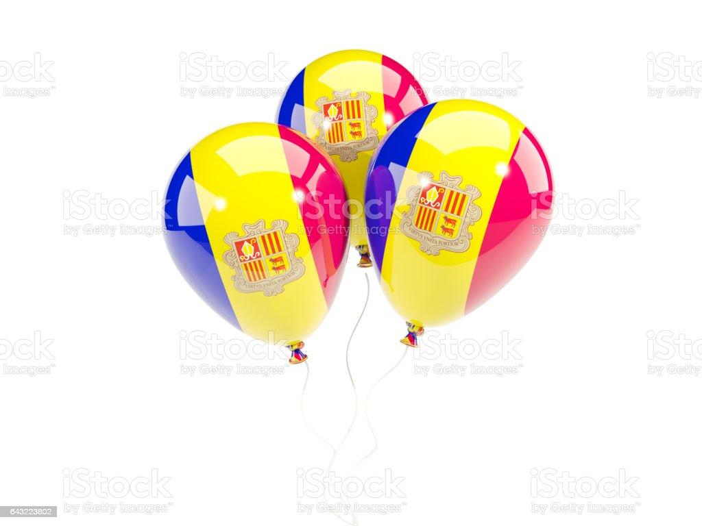 Three balloons with flag of andorra stock photo