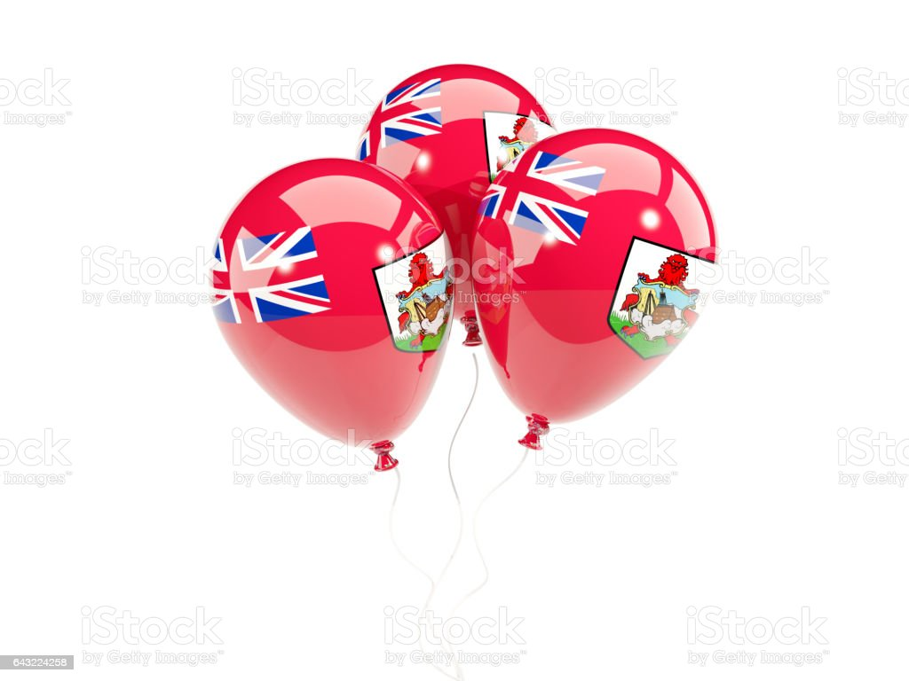 Three balloons with flag of bermuda stock photo