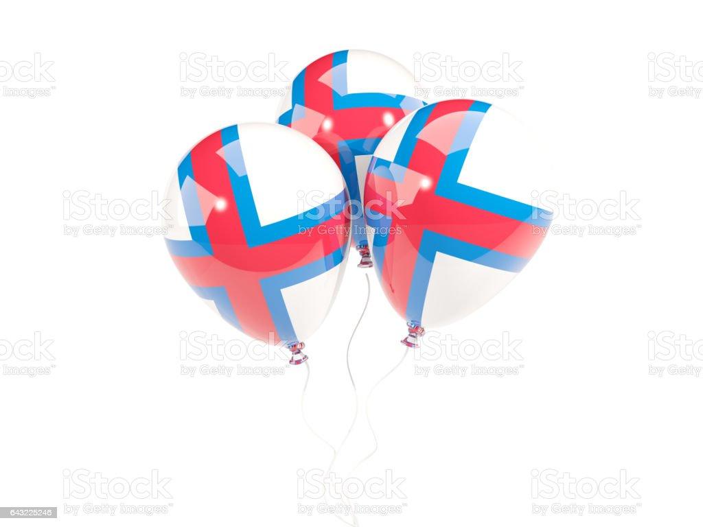Three balloons with flag of faroe islands stock photo