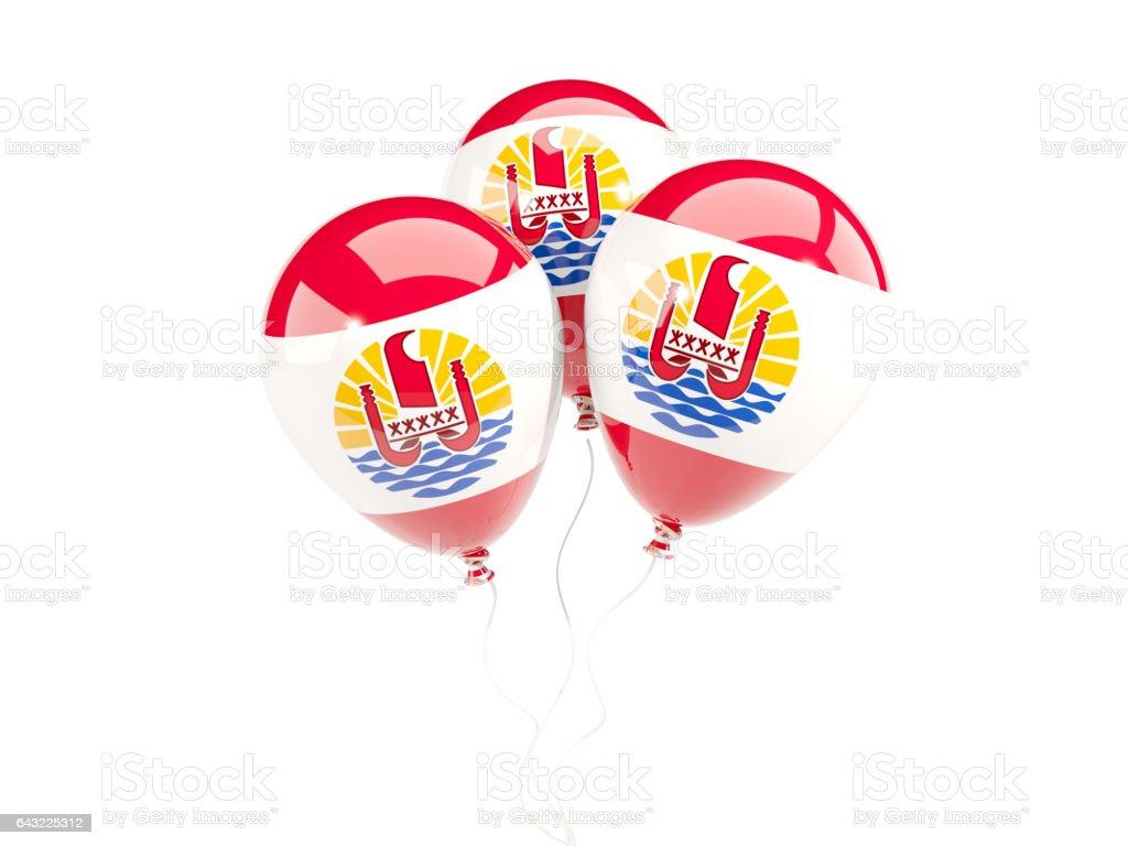 Three balloons with flag of french polynesia stock photo