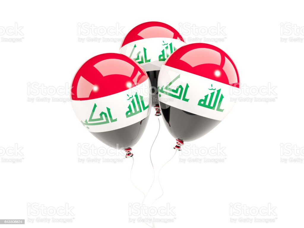 Three balloons with flag of iraq stock photo