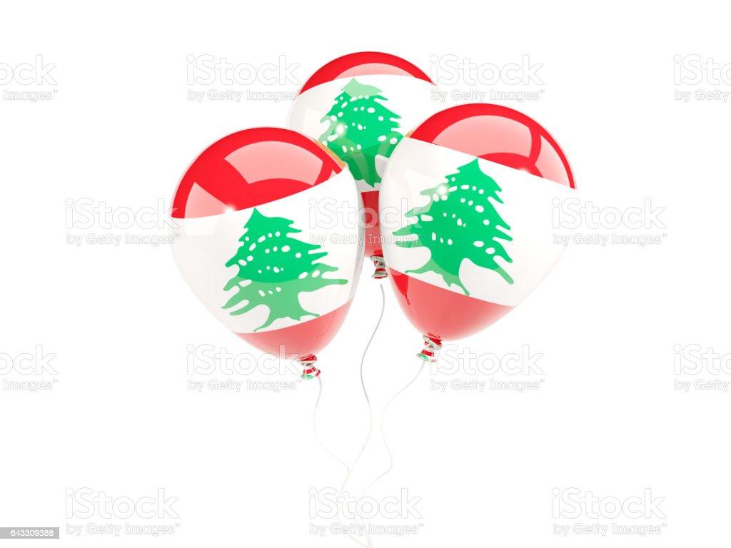 Three balloons with flag of lebanon stock photo
