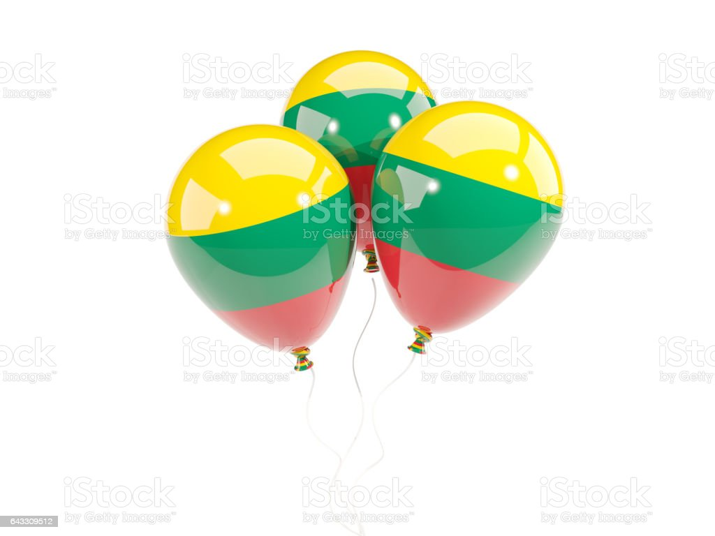 Three balloons with flag of lithuania stock photo