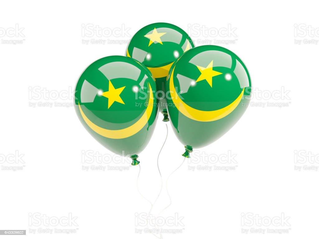 Three balloons with flag of mauritania stock photo