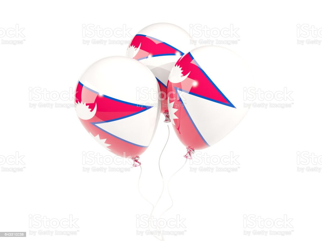 Three balloons with flag of nepal stock photo