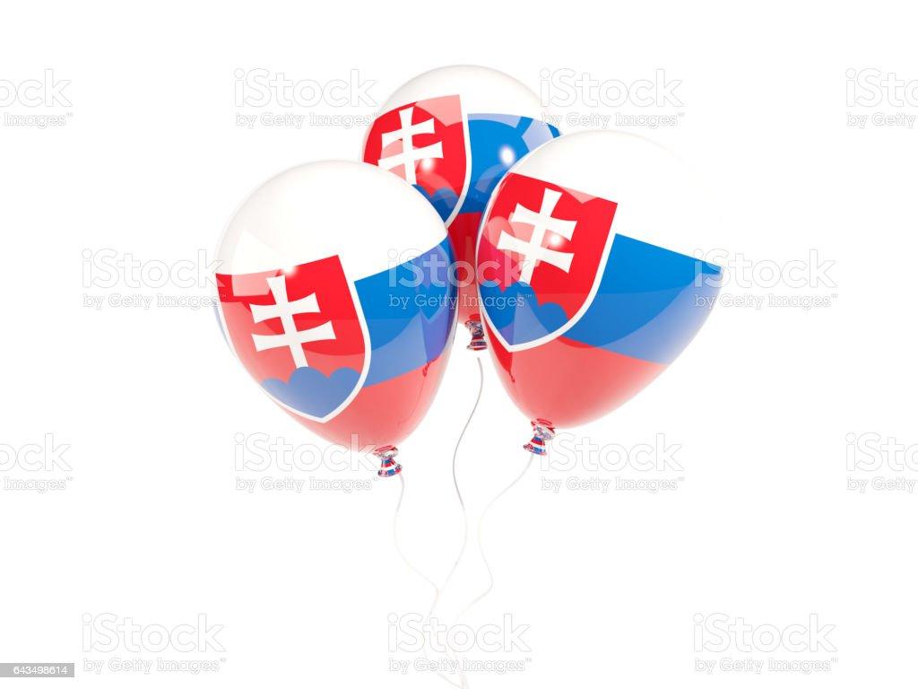 Three balloons with flag of slovakia stock photo