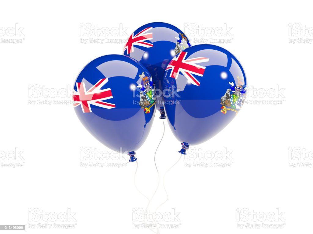 Three balloons with flag of south sandwich islands stock photo