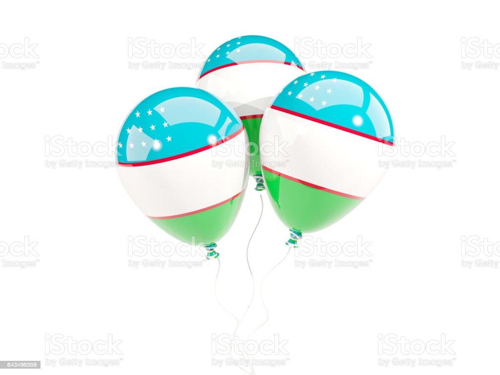 Three balloons with flag of uzbekistan stock photo