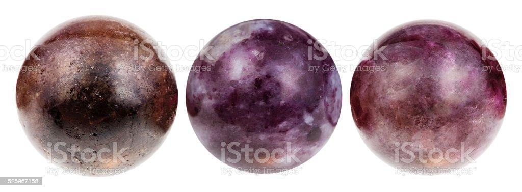 three balls from Tourmaline gemstone isolated stock photo