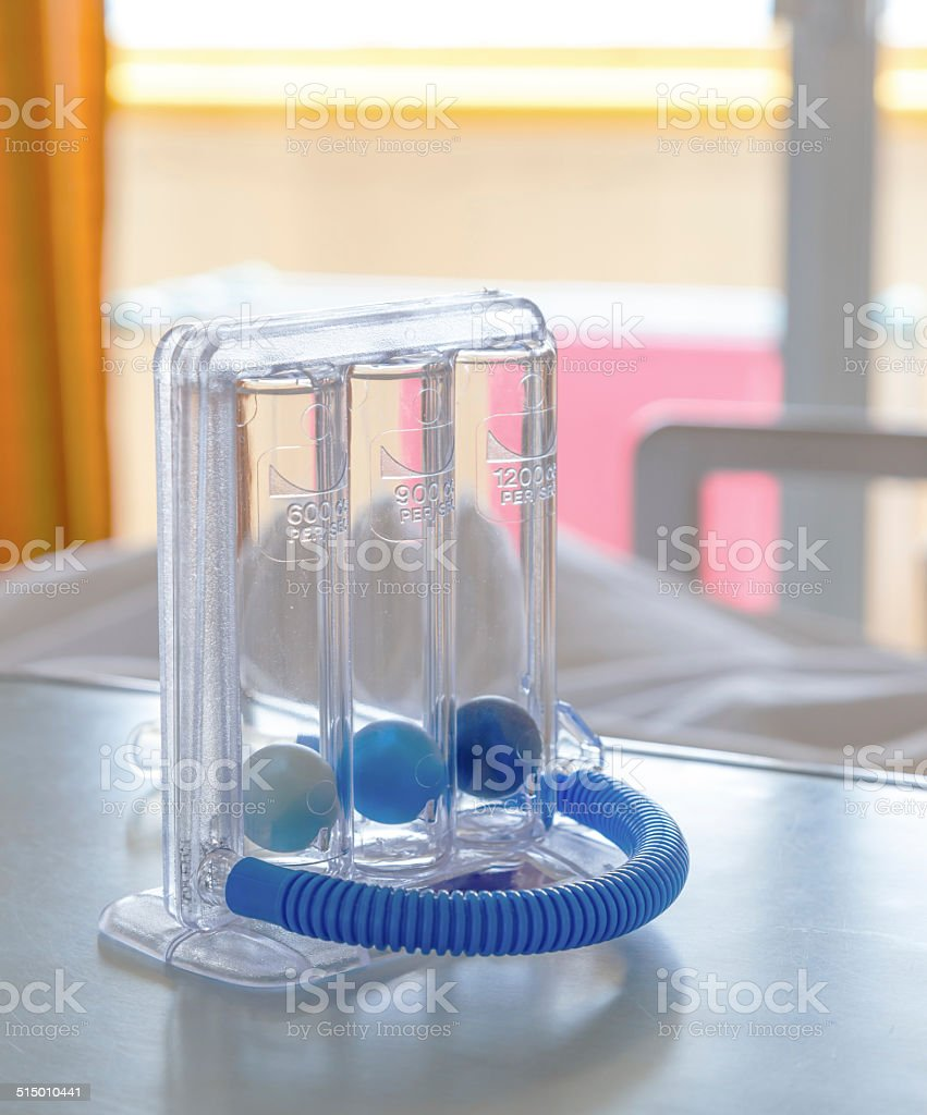 Three balls Incentive Spirometer for deep breathing stock photo