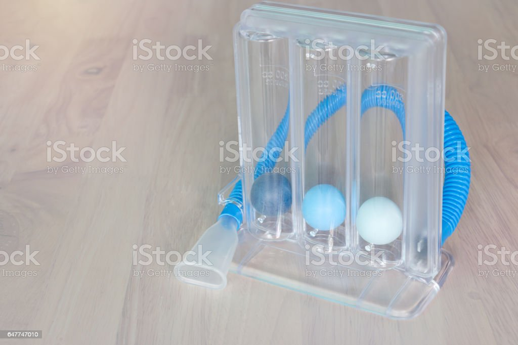 Three balls Incentive Spirometer for deep patient breathing stock photo