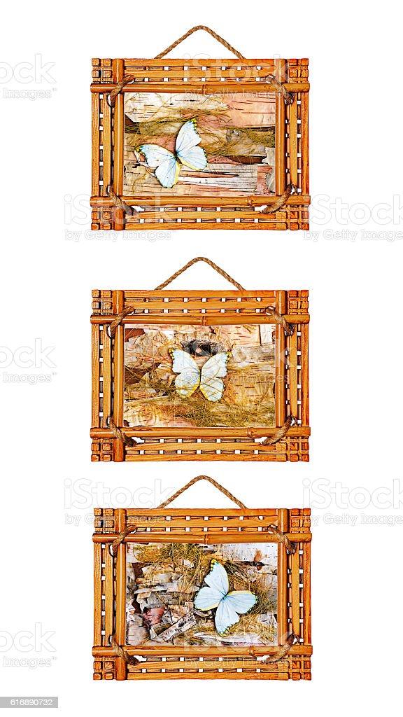 Three bamboo photo frames isolated on white background stock photo