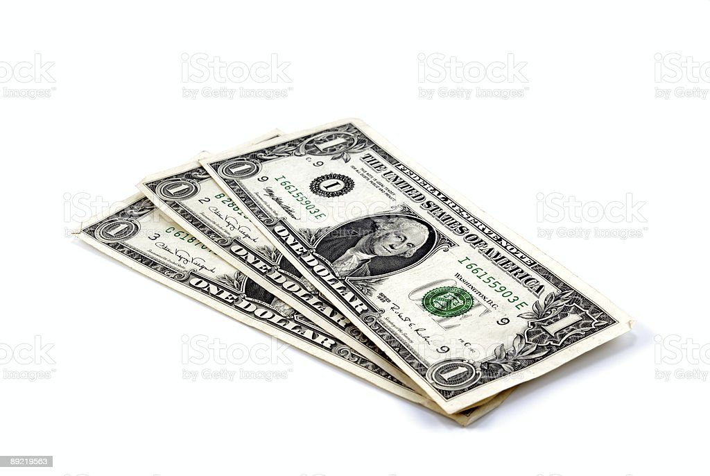 Three banknote on one dollar royalty-free stock photo