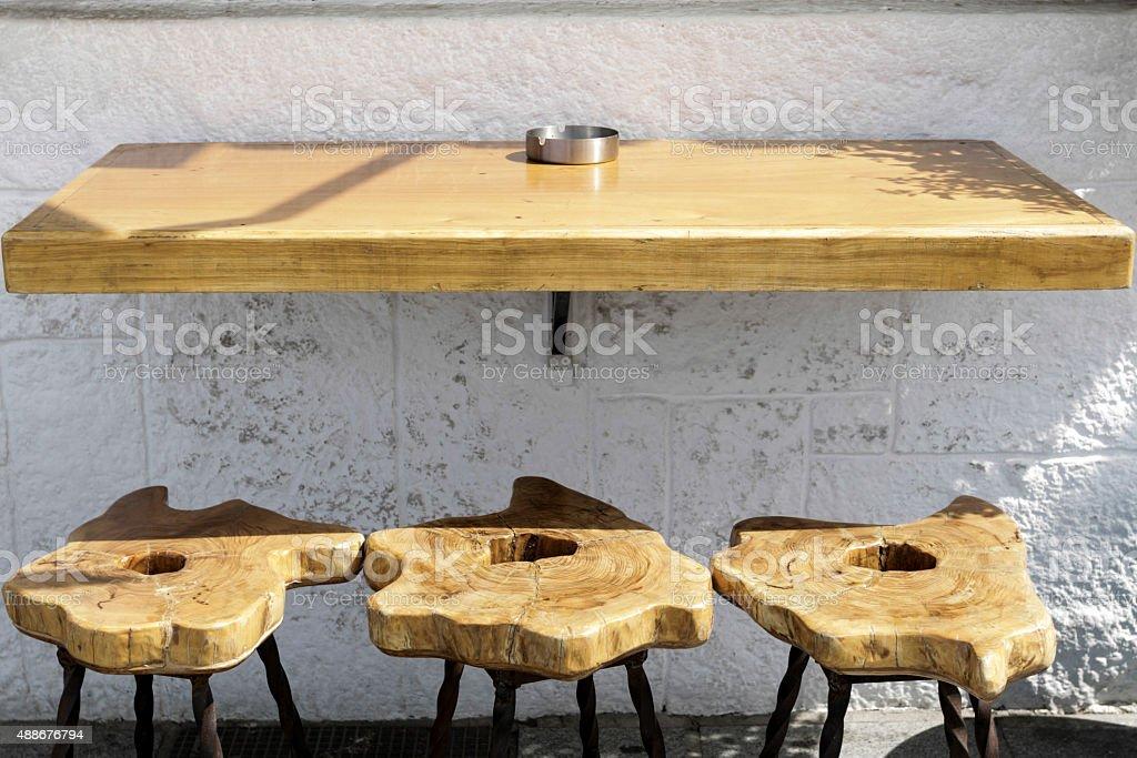 Three bar stools stock photo