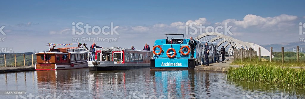 Three Barges by Falkirk Wheel stock photo